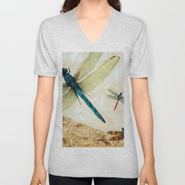 Zen Flight - Dragonfly Art By Sharon Cummings Unisex V-Neck