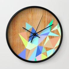 Wooden Geo Aqua Wall Clock
