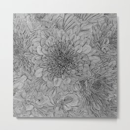 Black and White Floral Line Drawing Metal Print