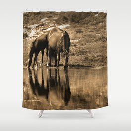 Mother and son drinking Shower Curtain