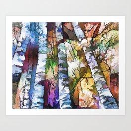 White Aspen an Birch Trees Art Print
