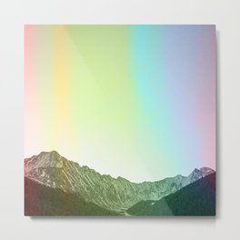 Rainbow Ridge Snow Capped Mountain Range \\ Colorado Landscape Photography \\ B&W Ski Season Art Metal Print