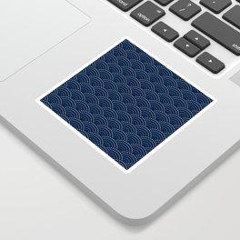 Japanese Blue Wave Seigaiha Indigo Super Moon Pattern Sticker