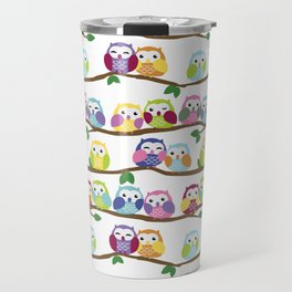 Colorful Owls On Branches Travel Mug
