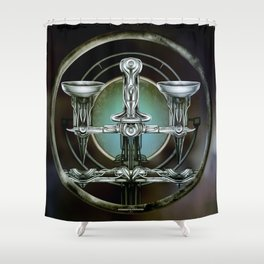 """Astrological Mechanism - Libra"" Shower Curtain"
