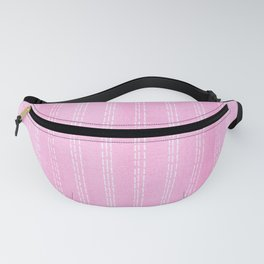 White lines on pink watercolor vertical Fanny Pack