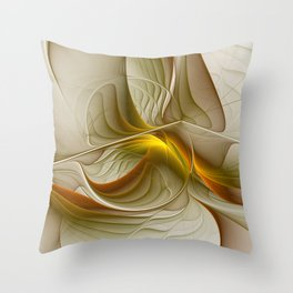 Abstract With Colors Of Precious Metals, Fractal Art Throw Pillow