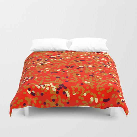 dots on red Duvet Cover