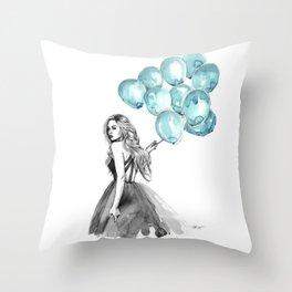 Balloons Turquoise  Throw Pillow