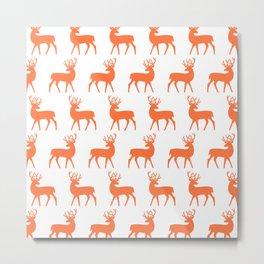 Mid Century Modern Deer Pattern Orange 3 Metal Print