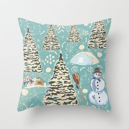 Winter Seamless Pattern with bunnies, spruce trees and snowman Throw Pillow