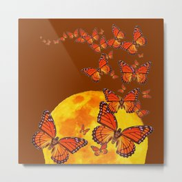 MONARCH BUTTERFLIES GOLDEN MOON BROWN FANTASY Metal Print