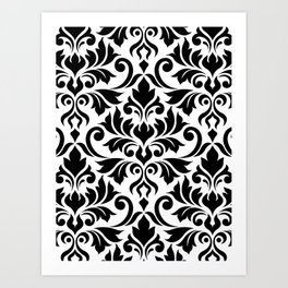 Flourish Damask Big Ptn Black on White Art Print