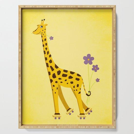 Funny Roller Skating Giraffe In Yellow by borianagiormova