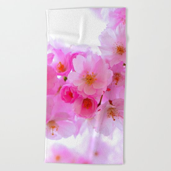 cherry tree blossom Beach Towel