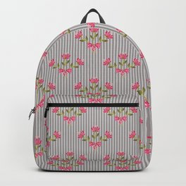 Flower bouquet on a gray striped background. Backpack