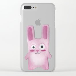 Watercolor Freezer Bunny Clear iPhone Case