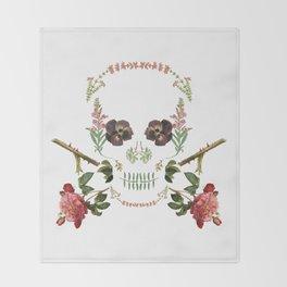 Floral Skull Throw Blanket