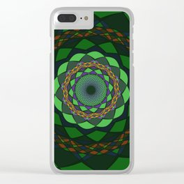 Green Circular Ornaments Clear iPhone Case