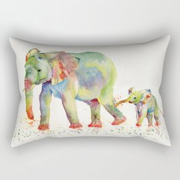 Colorful Elephant Family Rectangular Pillow