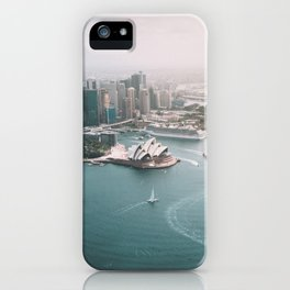Sydney Opera House Harbour Bridge   Australia Aerial Travel Photography iPhone Case