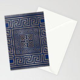 Greek Key Ornament - Greek Meander -gold on blue Stationery Cards
