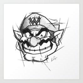 Wario Handmade Drawing, Games Art, Super Mario, Nintendo Art Art Print
