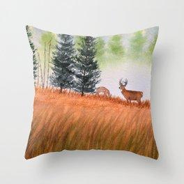 Deer On A Misty Morning Throw Pillow