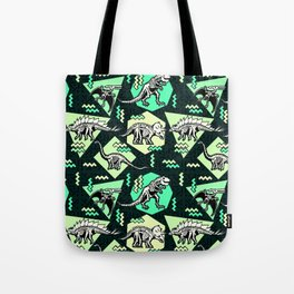 90's Dinosaur Skeleton Neon Pattern Tote Bag