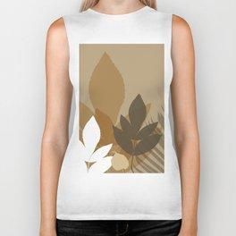 Silhouette leaves in brown and beige Biker Tank
