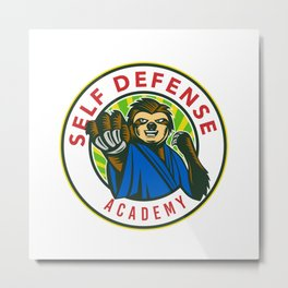 Sloth Karate Self Defense Badge Metal Print