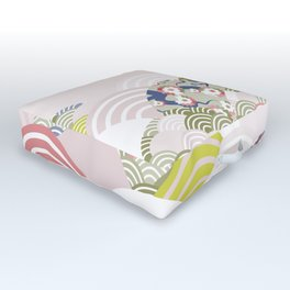 scales simple Nature background with japanese sakura flower, rosy pink Cherry, wave circle pattern Outdoor Floor Cushion