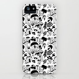 Friends among the mushrooms - Black and White iPhone Case