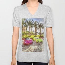 Dubai Super Cars Art Unisex V-Neck