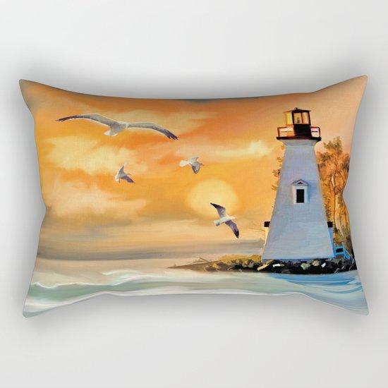 Sunset Lighthouse Rectangular Pillow