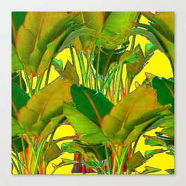 GOLDEN TROPICAL FOLIAGE GREEN & GOLD LEAVES AR Canvas Print