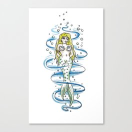Coy little mermaid Canvas Print