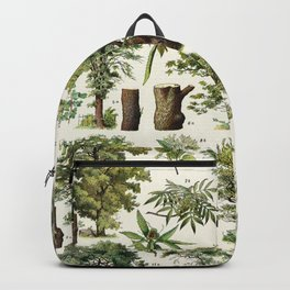 Adolphe Millot - Arbres A - French vintage botanical poster Backpack