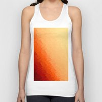 orange pattern Tank Tops featuring Orange Ombre by SimplyChic