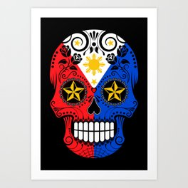 Sugar Skull with Roses and Flag of Philippines Art Print