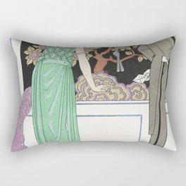La premiere imprudence Robe du soir de Beer (1921) fashion  in high resolution by George Barbier Rectangular Pillow