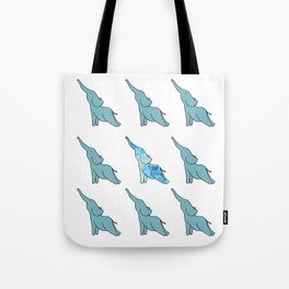 Cute Blue Elephants Practicing Yoga Tote Bag