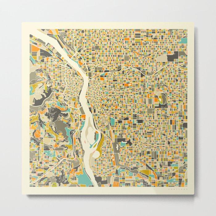 PORTLAND Map Metal Print
