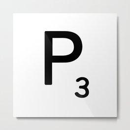 Letter P - Custom Scrabble Letter Tile Art - Scrabble P Initial Metal Print