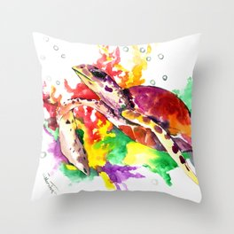 Sea Turtle in Coral Sea Throw Pillow