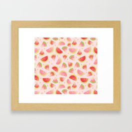 Watermelon Slices & Gold Hearts Framed Art Print