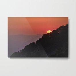 Red sun through the trees.. Sierra de Huetor. Spain Metal Print