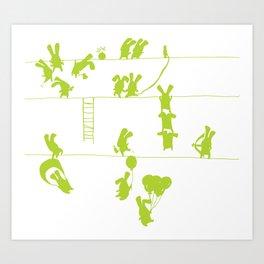 Green Bunnies Art Print