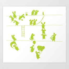 Green Bunnies Art Print