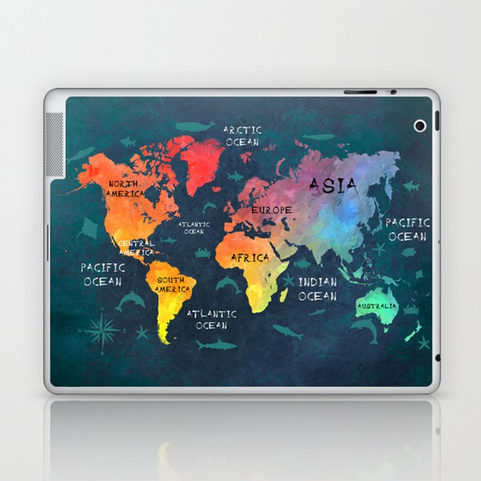 World Map 49 Color Laptop Ipad Skin By Jbjart Society6